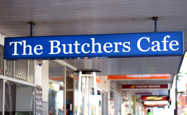 butchers cafe sign
