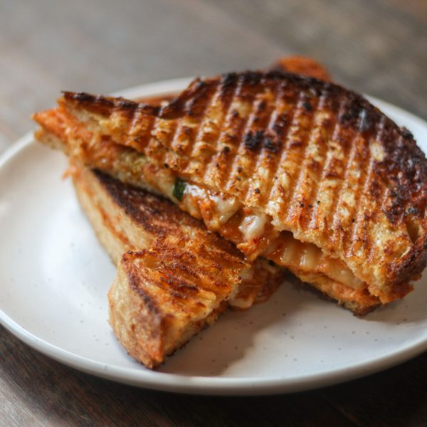 Post image for Kimchi and Gruyère toastie on Sandwich Loaf Sourdough
